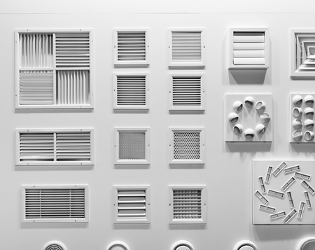 forced: Showcase with plastic grills for air vents closeup Stock Photo