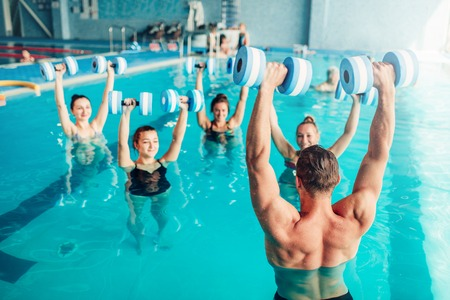 Aqua aerobics, healthy lifestyle, water sport Stock Photo