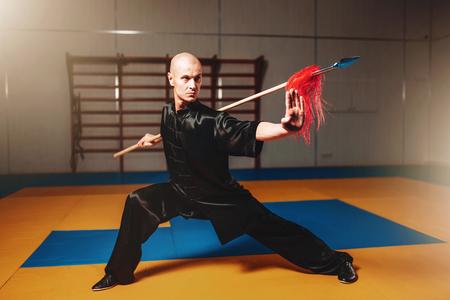 Wushu master training met spies, vechtsporten