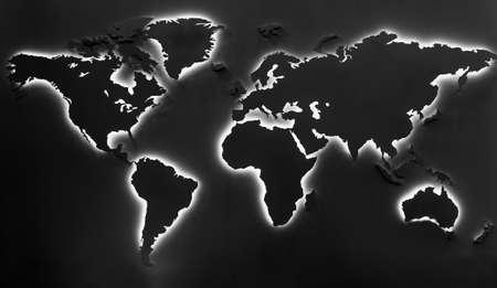 environmentalism: Illuminated earth map on black background Stock Photo
