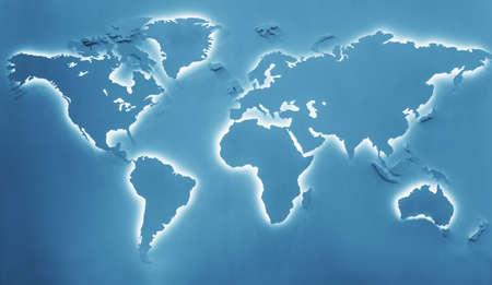 environmentalism: Illuminated earth map Stock Photo