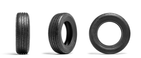 New car tires isolated on white background. Tyre service or shop advertising
