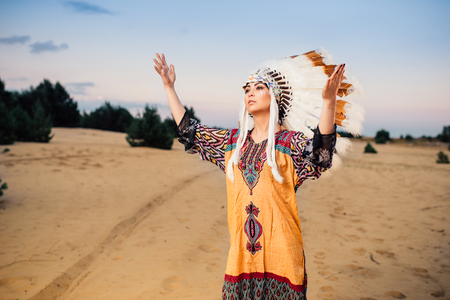 rite: American Indian woman hands up, ritual Stock Photo