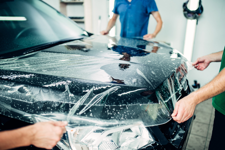 Transparent film, car paint protection Stockfoto
