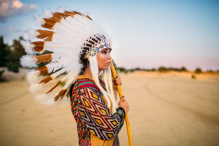 Young American Indian woman in traditional costume Stock Photo