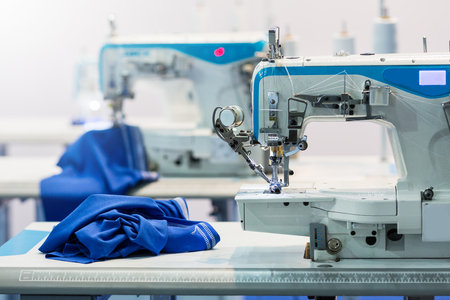 Sewing machines, nobody, cloth industry Stockfoto