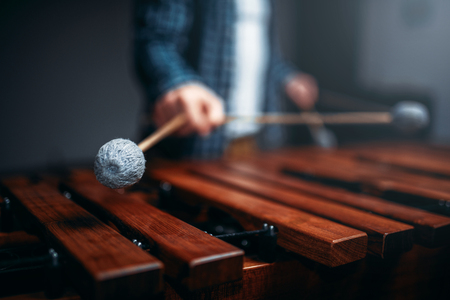 Xylophone player hands with sticks, wooden sounds Stockfoto