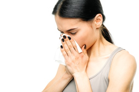 Painful woman with runny nose, snot or flu