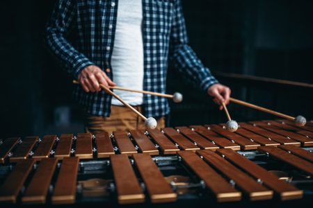 Xylophone player hands with sticks, wooden sounds 스톡 콘텐츠