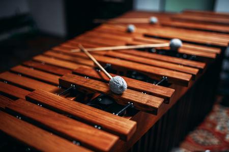 Xylophoneクローズアップ、木製パーカッション楽器