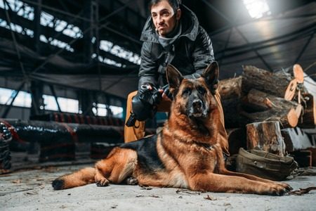 Stalker and dog, friends in post apocalyptic world Stock Photo