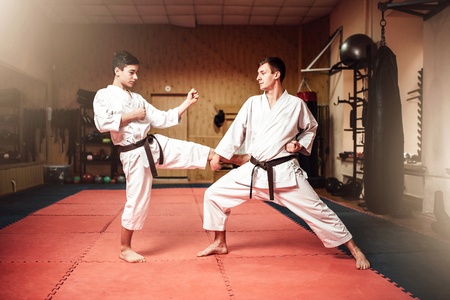 Martial arts masters, self-defence practice in gym Stock Photo