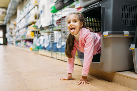Little girl chooses carrier for puppy in pet shop Stock Photo