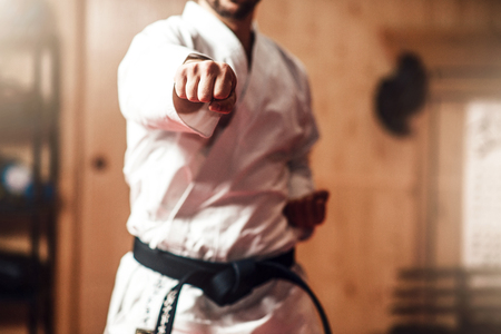 Martial arts master on fight training in gym