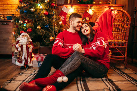 Love couple hugs together, christmas celebration Stock Photo