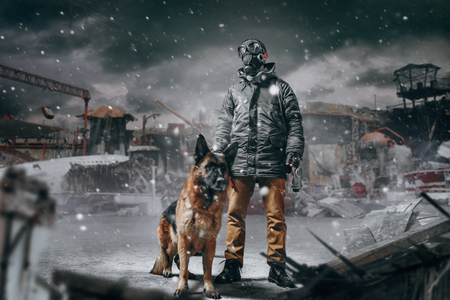 Stalker in mask and dog against ruined buildings
