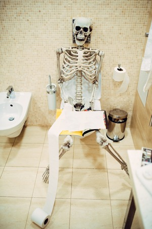 Human skeleton with book in hand sitting on toilet