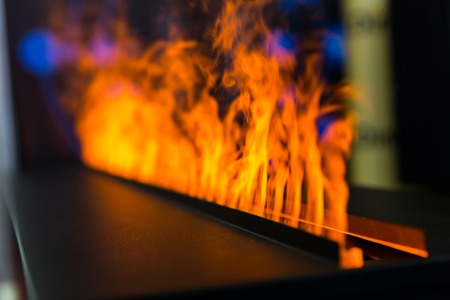 Flame line from gas fireplace, closeup
