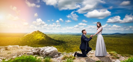 Groom makes the bride a marriage proposal