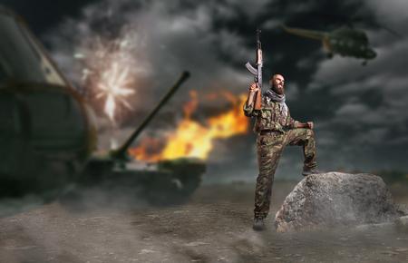 Bearded terrorist holding the  rifle up Imagens