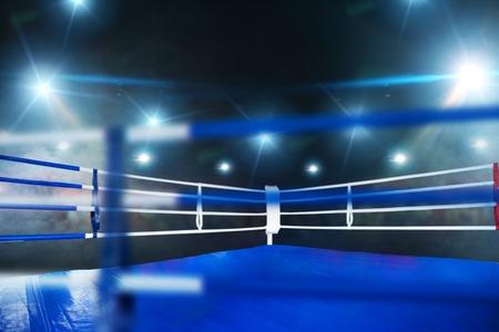 Ring de boxeo, vista de cerca a través de cuerdas, nadie
