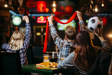 Group of football fans watching match in sport bar