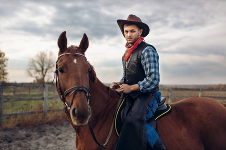 Cowboy riding a horse on texas farm Stock fotó - 113962115