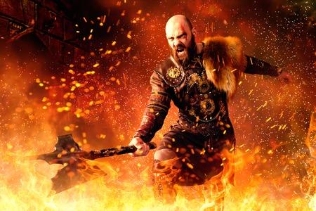 Vikingo con hacha de pie en el fuego, batalla en acción Foto de archivo