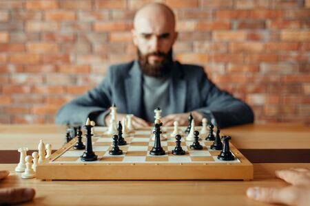 Male chess player, thinking process