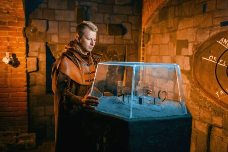 Traveler solving ancient puzzles in the dungeon