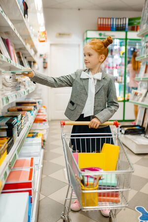 Little school girl with cart, stationery store Stock Photo