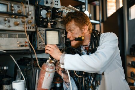 Crazy scientist conducting an experiment in lab