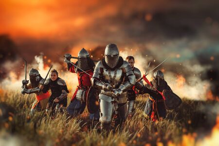 Medieval knights on battle field Banque d'images