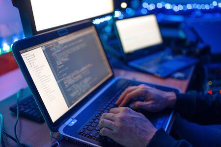 Programmer hands on keyboard, network security Stock fotó