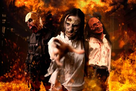 Zombies with bloody skinned faces, nightmare 写真素材