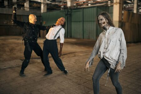 Military man nightmare, battle with zombie army