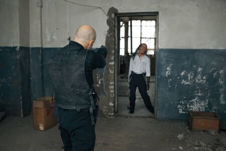 Man shoots zombie, nightmare, bullet effect 版權商用圖片