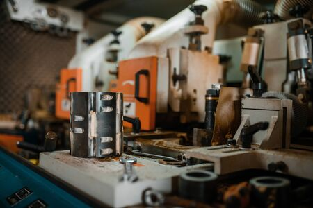 Woodworking machine closeup, wood processing Banque d'images