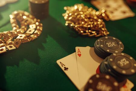 Poker concept, money bet, cards and chips, casino