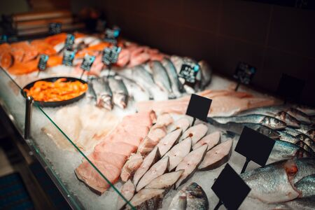 Showcase with chilled fish, grocery store, nobody Stok Fotoğraf