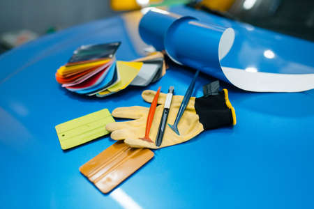 Car wrapping, color palette and installation tools