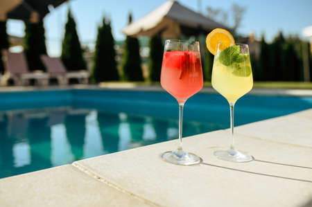Fresh coctails at the poolside outdoors, nobody