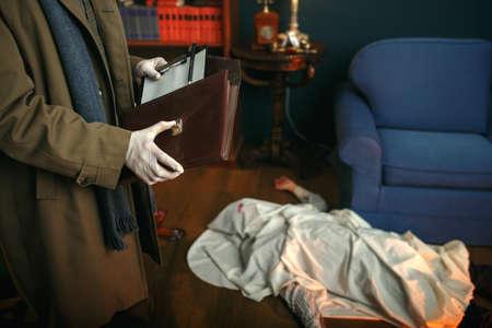 Detective holds notebook, crime scene, retro style