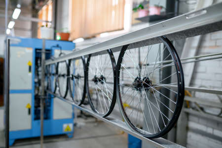 New aluminum bicycle wheels on assembly line