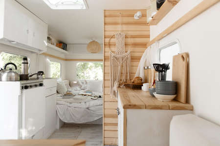 Camping in trailer, rv kitchen and bedroom, nobody 写真素材