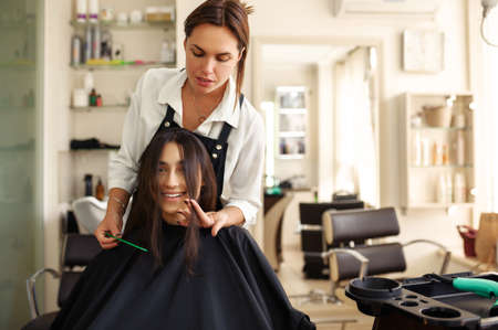 Hairdresser and smiling woman, hairdressing salon