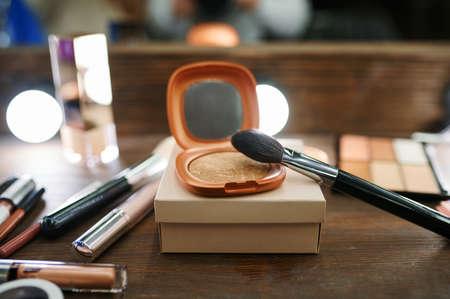 Makeup cosmetic collection closeup, nobody