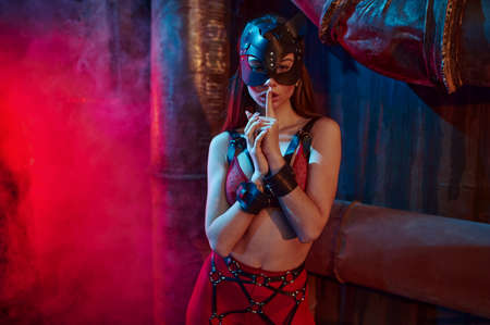 Sexy woman poses in suit and leather cat mask