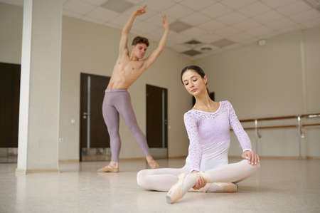 Couple of ballet dancers, dancing repetition