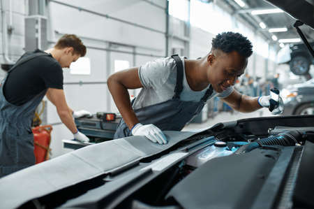 Two male mechanics inspects engine, car service Zdjęcie Seryjne